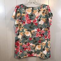 Piphany Green Floral Relaxed Fit Swing V-Neck Flutter Sleeve Blouse Top Small