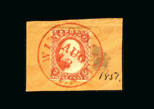 US Stamp Used XF S#10  S.O.N. Red circular date/town cancel