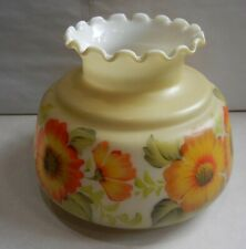 Vintage Glass Shade White In Green Tint Bottom Creamy Color Top Floral Middle