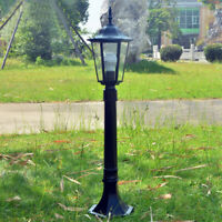 Vintage Outdoor Lighting Black Lamp Post Garden Lantern Path Glass Lawn light