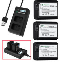 NP-FW50 Battery + LCD Dual Charger For Sony Alpha 7R A6000 A6500 A6300 A7  A7r