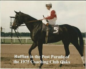 """1975 - RUFFIAN in the Post Parade of the Coaching Club Oaks - Color - 10"""" x 8"""""""