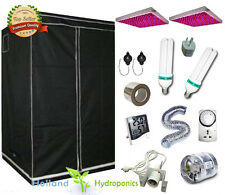 2x LED Panel Hydroponics Setup CFL 130w lamps Grow Tent Ventilation Kit Flower