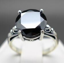 "3.22cts 9.64mm Real Natural Black Diamond Ring AAA Grade & $1810 Value"""