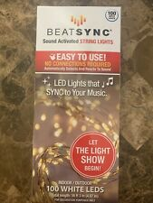 Beat Sync Sound Activated String Lights 100 White LEDS New in Box!