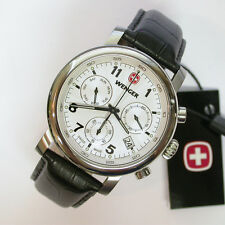 NEW $275 GENTS WENGER 43MM WHITE/BLK URBAN CLASSIC STRAP CHRONO WATCH #1043.105
