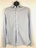 Charles Tyrwhitt men's dress shirt 16/35 blue & yellow plaid Non Iron Slim Fit