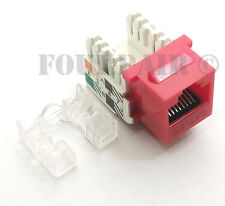 100 Pack Lot - CAT5e RJ45 110 Punch Down Keystone Modular Snap-In Jacks - Red