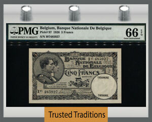 TT PK 97 1926 BELGIUM 5 FRANCS KING ALBERT & QUEEN ELISABETH PMG 66 EPQ 2 of 2