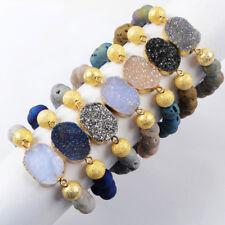 5Pcs Titanium Druzy Chalcedony 10mm Matte Beads Quartz Crystal Bracelet BG1483