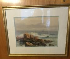 Watercolor Seascape By J Alfred Cook Listed Massachusetts Artist