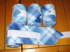 New set of 4 light/dark blue and white plaid polo wraps (horse/pony leg wraps)