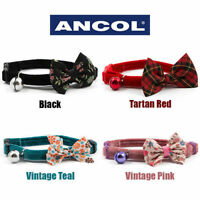 Ancol Cat Collar bow tie break free safety bowtie collar red tartan pink flowers