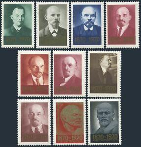 Russia 3721-3730,3731, MNH. Mi 3749-3758, Bl.63. Vladimir Lenin, Portraits, 1970