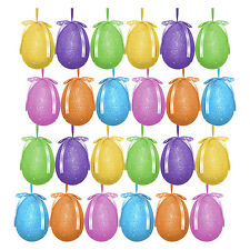Pack of 24 Multicolour Glitter Hanging Easter Eggs - Bonnet Hat Decoration