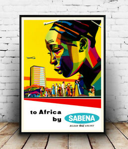 To Africa Sabena, vintage Travel information ,Poster, Wall art, Reproduction.