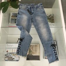 Blank NYC Jeans 27 High Rise Tapered Blue Lace Up Ankle Raw Hem Distressed NWT