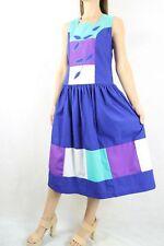 Vintage Cotton Colour Block Drop Wiast 80s Dress Size S