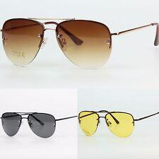 Rimless Aviator Pilot Tear Drop Shape Frameless Sunglasses