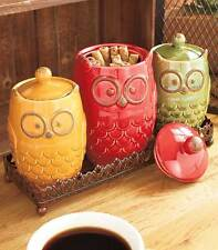 4 Piece Whimsical Ceramic Owl Canister with Lids & Metal Tray Kitchen Set