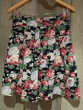 Review Floral Flare Skirt - Size 8 - 72cm Waist - Navy - Side Zip