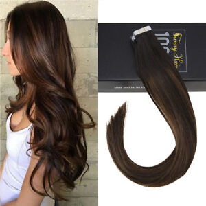 Sunny 20pcs Tape in Human Hair Extensions Remy Quality Balayage Brown 2/2/6# 50g