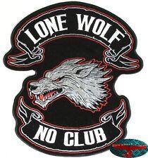 LONE WOLF NO CLUB Patch Aufnäher Aufbügler groß Biker Backpatch Motorrad Harley