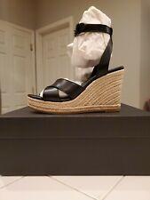 New In Box Coach Kaelyn Open  Toe Wedges Black Size 6 B Jute Platform ($228.00)
