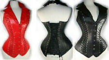Red or Black Longline Faux Leather Halterneck Corset Bustier Thong Lace Up Back