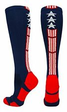 Usa Flag Stars Stripes over the Calf Socks Reduce Fatigue - Large Navy/Red/White