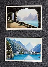 c1870 Schweiz Switzerland Uri Flüelen Kolorierte Aquatinta-Ansicht Dikenmann