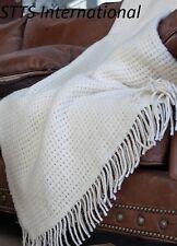Wolldecke Wohndecke Plaid Tagesdecke Decke 140x200 cm Wolle Creme-Weiß Roma