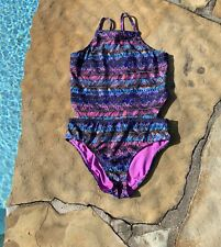 JESSICA SIMPSON® Big Girls Size 12 Feather Print Monokini One-piece Swimsuit