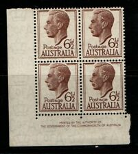 Australia 1951 1952 King George VI 6½d imprint block of 4 SG249 MNH