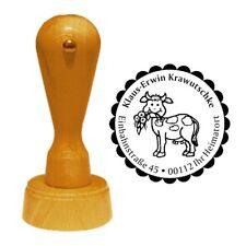Stempel « KUH mit BLUME » Adressenstempel Motiv Tier Bauernhof Bauer Landhaus