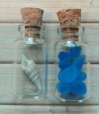 Fairy garden accessories x2 miniature glass bottles mini unicorn horn sea glass