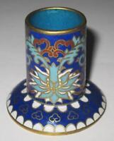 "Asian Cloisonne Blue Flowers Toothpick Holder, Candlestick Holder, 2"""