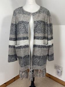 MADELEINE Grey Wool Blend Chunky Cardigan Coatigan Size M 14/16 Striped Open