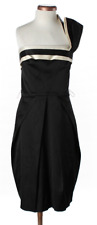 NEW BCBG Maxazria Black Cold Shoulder short stretch satin dress Sze 2 $315 MSRP