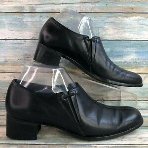 Munro Black Leather Slip On Ankle Booties Block Heel Split Toe Womens 8N