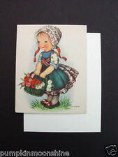 #H237- Vintage Unused Eva Harta Birthday Greeting Card Sweet Girl WIth Tulips