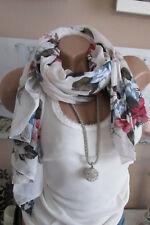 PAÑUELO DE SEDA bufanda blanco estampado flores ALGODÓN NOBLE lujo ITALY