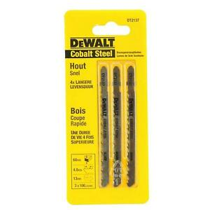 Dewalt DT2137 Cobalt Steel 'T' Shank Jigsaw Blades. Coarse For Wood (Pack Of 3)