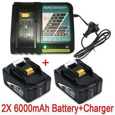 2x 18V 6.0AH Battery for Makita BL1840 BL1830 with Fuel Guage +Rapid Charger