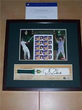 ASHES STAMP SET with SIGNED RICKY PONTING CRICKET BAT.