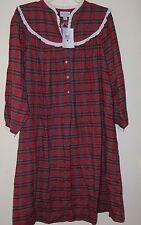 Lanz of Salzberg -L- Red Plaid Cotton Flannel Warm Nightgown Long Length Large