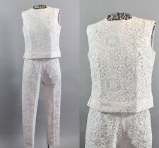 Vintage 1960s Pink and White Lace Pantsuit. Vintage Women Ankle Trouser Suits.