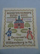 Vintage Completed Cross Stitch on Linen Sampler Williamsburg Governor's Palace