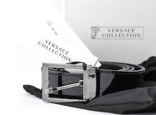 Mens VERSACE V910178 Black Patent Leather Belt 110 cm 32 34 36 38 40 42 NWT