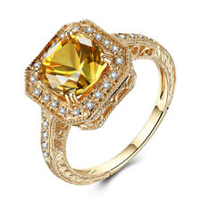 3.2CT Citrine Round 8mm Real Diamonds Solid 18K Yellow Gold Antique/Vintage Ring